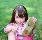 Portrait of beautiful funny girl in the park . — ストック写真
