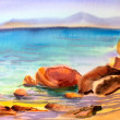 Watercolor painting seascape — Stock Photo