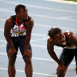 BARCELONA, SPAIN - JULY 13: (L-R) David Bolarinwa and Aaron Ernest after the 200 meters final on the IAAF World Junior Championships on July 13, 2012 in Barcelona, Spain. — ストック写真