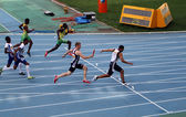Relay race on the IAAF World Junior Championships on July 13, 2012 in Barcelona, Spain — Stock Photo
