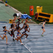 4x100 meter final on the 2012 IAAF World Junior Athletics Championships Barcelona July 14 — Stock Photo