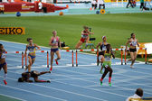 BARCELONA, SPAIN - JULY 14: athletes compete in the 400 meters hurdles final on the 2012 IAAF World Junior Athletics Championships on July 14, 2012 in Barcelona, Spain. — Stock Photo