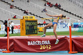 BARCELONA, SPAIN - JULY 15: High jumper Iryna Gerashchenko competes in the high jump on the 2012 IAAF World Junior Athletics Championships on July 15, 2012 in Barcelona, Spain. — Стоковое фото
