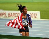 Barcelona, spanien - 12 juli: emma wilson vinnaren av de 800 metrarna final på de 2012 iaaf junior vm i friidrott den 12 juli, 2012 i barcelona, spanien. — Stockfoto