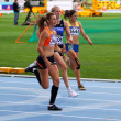 BARCELONA, SPAIN - JULY 13: Girls on the 200 meters race of the Heptathlon event on the IAAF World Junior Championships on July 13, 2012 in Barcelona, Spain. — Stock Photo