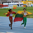 Ana Peleteiro and Dovilé Dzindzaletaité celebrate the gold and silver medal in triple jump on 2012 World Junior Athletics Championships on July 12, 2012 in Barcelona, Spain - Stock Photo