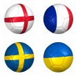 Stock Photo: Ball flags euro cup 2012 group D