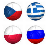 3d ball flags euro cup 2012 group C — Stock Photo