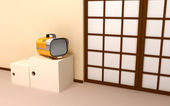 Japanese backdrop with retro tv — Zdjęcie stockowe