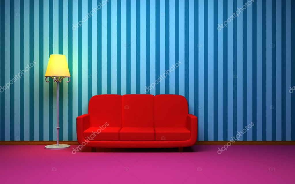 A room in a retro style with a red sofa and blue striped wallpaper. Side of the sofa floor lamp is lit — Stock Photo #11263899