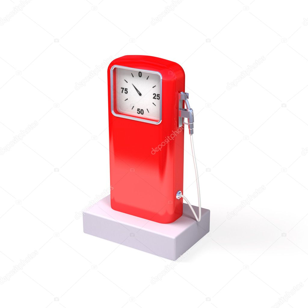 Red retro fuel station on a white background — Stock Photo #11263902