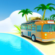 Tropical adventure by bus — Stok fotoğraf