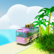 Tropical adventure by bus - Stock Photo