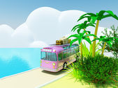 Tropical adventure by bus — Stock Photo