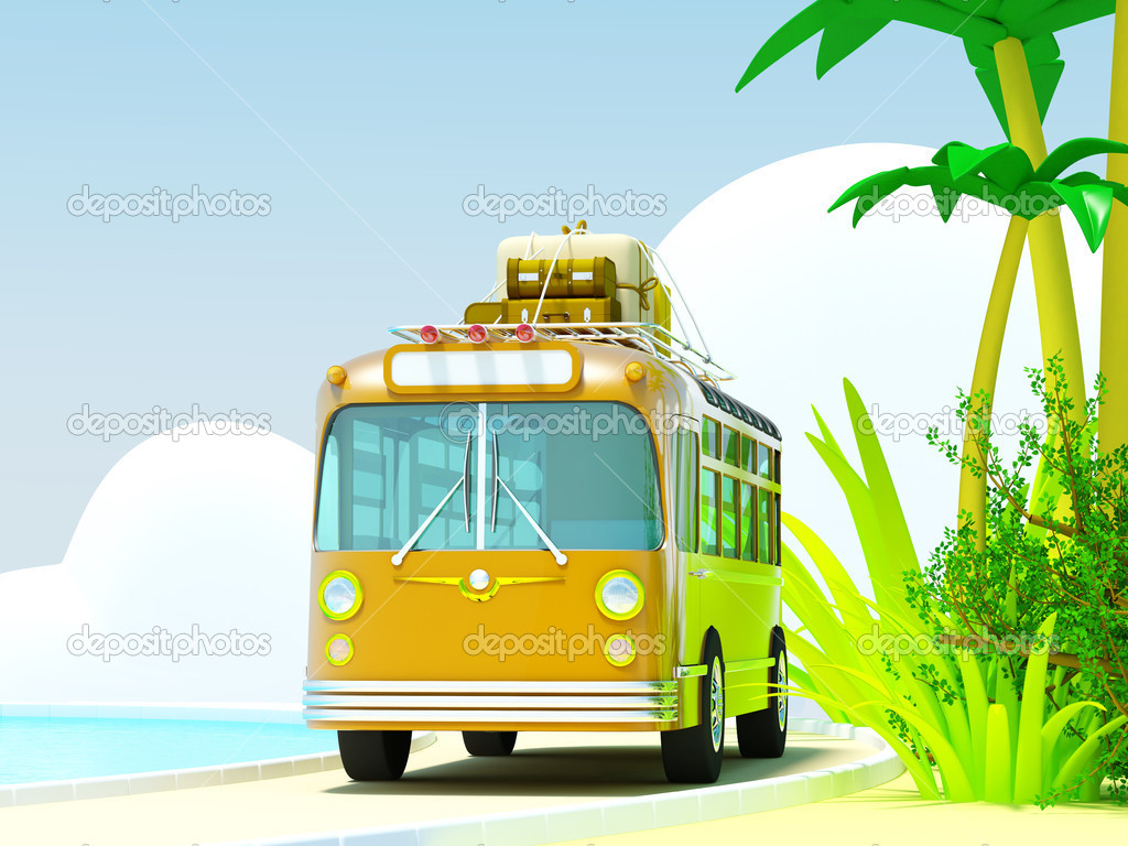 The bus traveling on a tropical beach, roof bags and boxes. The sea and clouds. 3d picture in bright cartoon style. — Stok fotoğraf #11760568