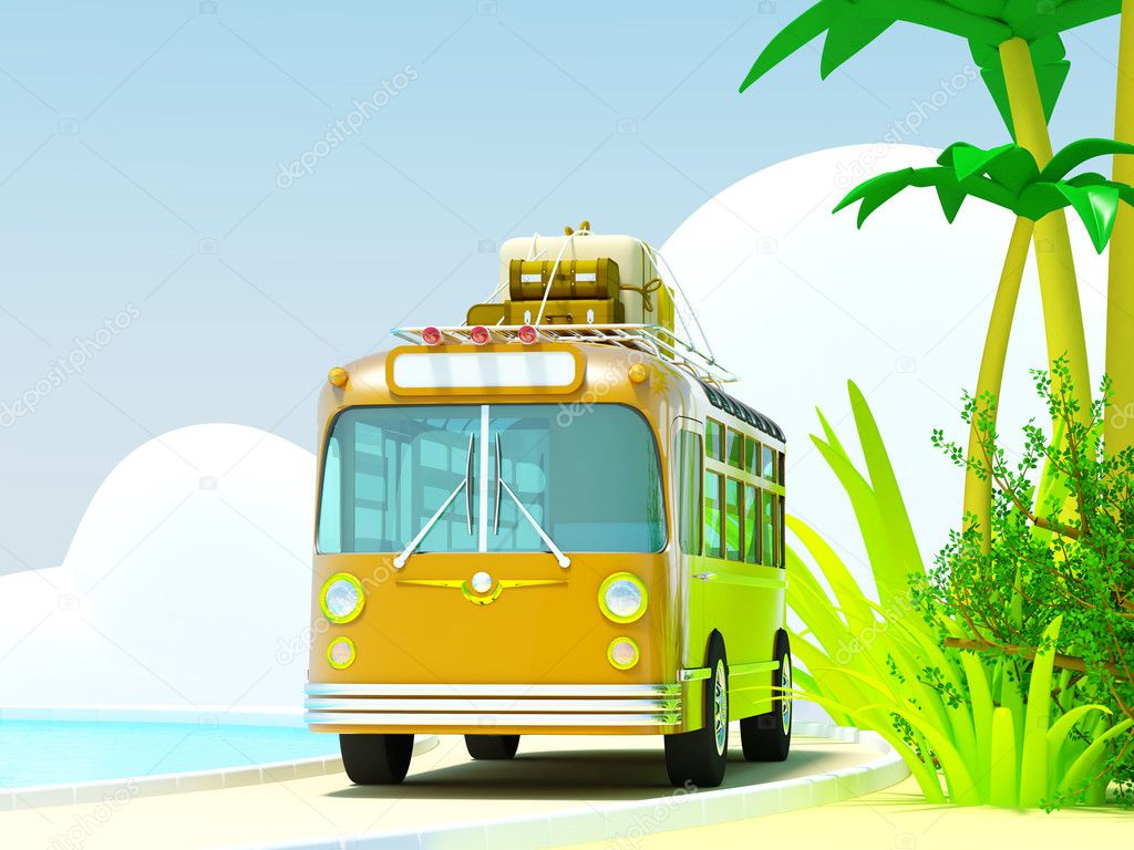 The bus traveling on a tropical beach, roof bags and boxes. The sea and clouds. 3d picture in bright cartoon style.  Foto Stock #11760568