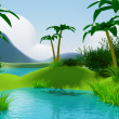 cartoon 3d tropical jungle landscape — Stock Photo
