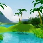 Cartoon 3d tropical jungle landscape — Stock Photo