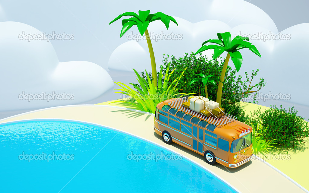 The orange bus traveling on a tropical beach, roof bags and boxes. The sea and clouds. 3d picture in bright cartoon style. — Stock Photo #12104670