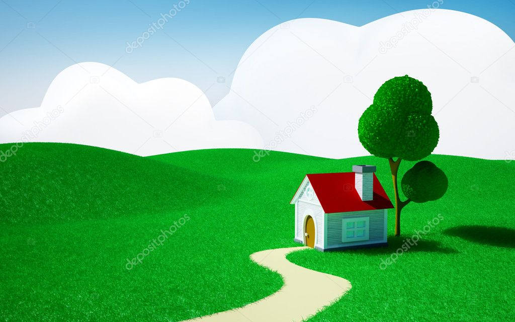 3d cartoon landscape, a house on a green field, hills and blue sky with clouds — Stock Photo #12104680
