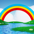 Green field with rainbow — Stock Photo