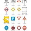 Stock Vector: Danger road signs set