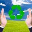 Stock Photo: Business mhand and recycle sign for green world concept