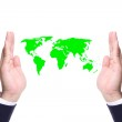 Business man hand save the world — Stock Photo #11266274