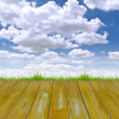 Wood floor and blue sky — Stock Photo