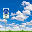 Stock Photo: Bicycle way sign on fresh spring green grass against blue sky