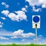Blue blank sign on fresh spring green grass against blue sky — Stock Photo