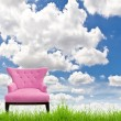 Pink sofa on green grass and blue sky — Stock Photo #11279514