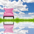 Pink sofa on green grass and blue sky — Stock Photo