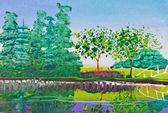 Poster kleur tekening van boom en reflectie in water — Stockfoto