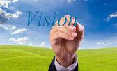 Mão de homem de negócios escrever palavra visão — Fotografia Stock