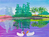 Poster color drawing reflection of forest and swan — Stock Photo