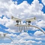 Outdoor cctv cameras against blue sky — Stock Photo