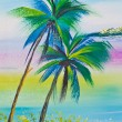 Poster color drawing coconut tree and sea - Stock Photo