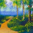 Poster color drawing walk way in forest — Stock Photo