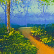 Stock Photo: Poster color drawing walk way in forest