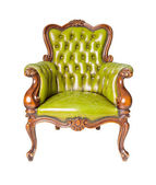 Luxury green leather armchair — Foto Stock
