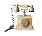 Sztuka telefon wykonane z marmuru na białym tle — Zdjęcie stockowe