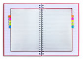 Notebooka czerwony na białym tle — Zdjęcie stockowe