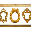 Foto de Stock  : Collection of golden sculpture frame isolated with clipping path