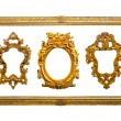 Collection of golden sculpture frame isolated with clipping path — Stock Photo #12018983