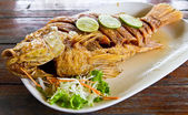 Fired fish with fishsauce delicious thai food — Stock Photo