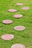 Stone walk way on grass — Stock Photo