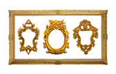 Collection of golden sculpture frame isolated with clipping path — Stock Photo