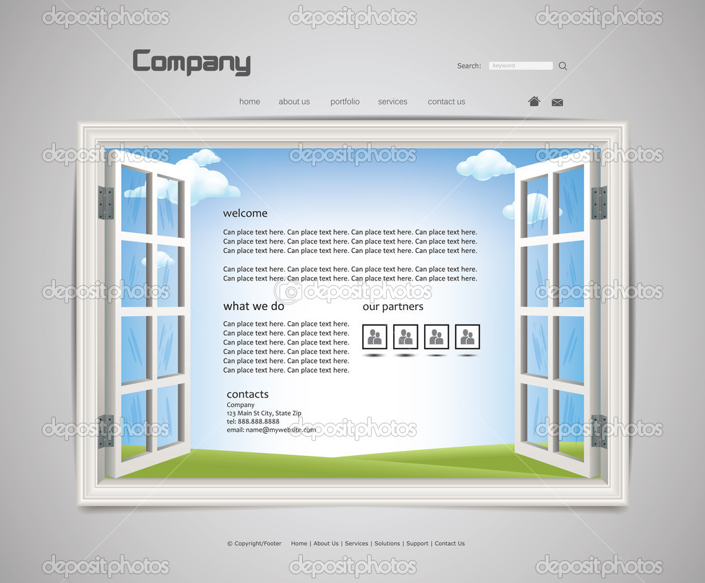 Open Widow Website Background — Stockvectorbeeld #10772708