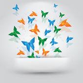 Origami Butterflies Paper Slit — Stock Vector